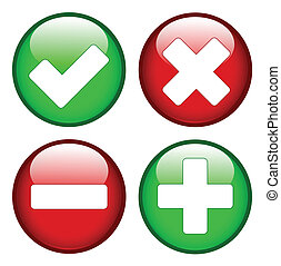 Tick cross minus plus signs on green and red circles