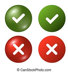 Tick cross signs set - Tick and cross signs. Green checkmark...