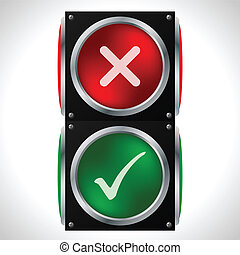 Tick cross symbols on traffic light