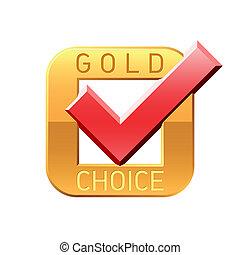 tick, embleem, goud, keuze