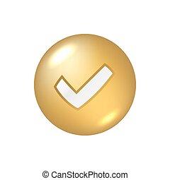 Tick gold sign element
