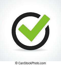 tick, groene, pictogram