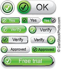 Tick high-detailed modern buttons. - Tick web green buttons...