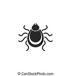 Tick icon. Mite silhouette. Vector illustration.