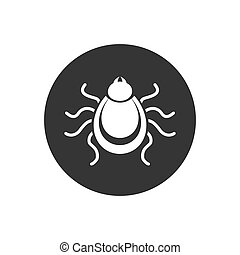 Tick icon. Mite silhouette. Vector illustration. in modern flat