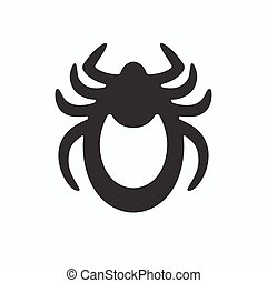 Tick icon vector. Mite sign isolated on white background. Encephalitis mite skin parasite silhouette. Flat design. Vector illustration