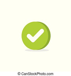 Tick icon vector symbol, cartoon green 3d checkmark isolated on white, checked icon or correct choice sign in round shape, check mark or checkbox pictogram clipart