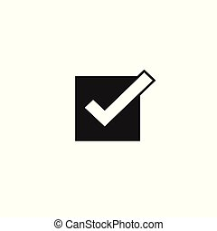 Tick icon vector symbol, checkmark isolated, checked icon or correct choice sign, check box mark or checkbox square pictogram black and white