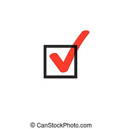Tick icon vector symbol doodle style, red checkmark isolated on white background, checked icon, correct choice sign in black square, handwritten or drawn check mark or checkbox pictogram