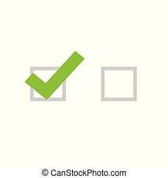 Tick icon vector symbol, flat cartoon green checkmark isolated on white background, checked and empty icon or correct choice sign, square check box mark or checkbox pictogram clipart