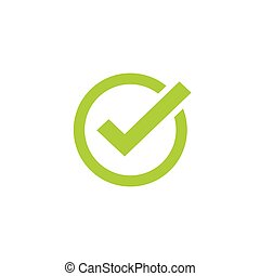 Tick icon vector symbol, green checkmark isolated, checked icon or correct choice sign, check mark or checkbox pictogram