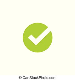 Tick icon vector symbol, green checkmark isolated on white background, checked icon or correct choice sign in round shape, check mark or checkbox pictogram clipart