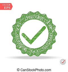 Tick icon vector symbol, green checkmark isolated on white background, checked icon or correct choice sign, check mark