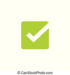 Tick icon vector symbol, green square checkmark isolated on white background, checked icon or correct choice sign, check mark or checkbox pictogram clipart