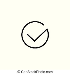 Tick icon vector symbol isolated, thin line art outline black checkmark isolated, checked icon or correct choice sign, check mark or checkbox pictogram clipart