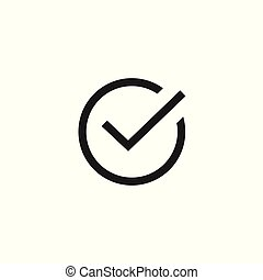 Tick icon vector symbol, line art outline black checkmark isolated, checked icon or correct choice sign, check mark or checkbox pictogram clipart