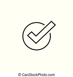 Tick icon vector symbol, line art outline checkmark isolated, checked icon or correct choice sign, check mark or checkbox pictogram