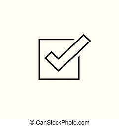 Tick icon vector symbol, line outline checkmark isolated on white background, checked icon or correct choice sign, check mark or checkbox square pictogram cipart