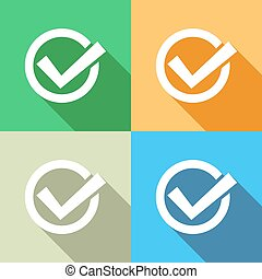 Tick icon - White tick icon on colorful backgrounds flat...