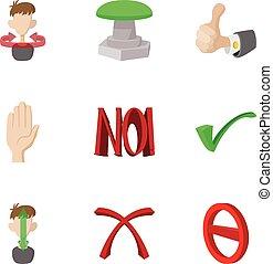 Tick icons set, cartoon style