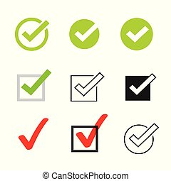 Tick icons vector symbol set, checkmarks collection isolated on white background, checked icon or correct choice sign, check mark or checkbox pictogram clipart