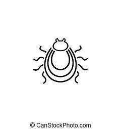 Tick line icon. Mite silhouette. Vector illustration. in modern flat