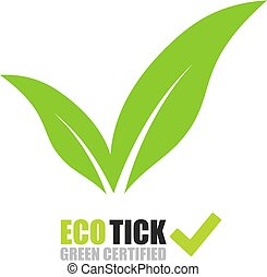 Tick logo with green leaves on white background
