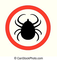 tick lyme insect warning icon- vector illustration
