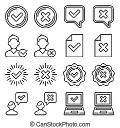 Tick Mark and Cross Sign Set on White Background. Line Style Vector