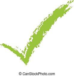 Hand drawn green check mark.
