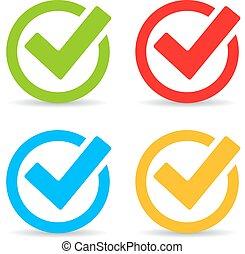 Tick mark icon - Tick marks icons set