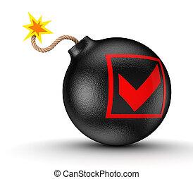 Tick mark on a black bomb.