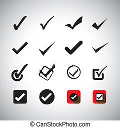 tick mark or right sign vector icons collection set. This...