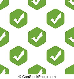 Vector tick mark in hexagon, repeated on white background