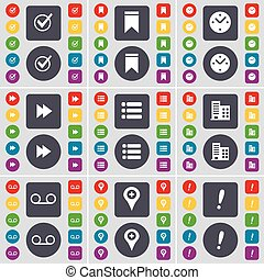 Tick, Marker, Clock, Rewind, List, Building, Cassette, Exclamation mark icon symbol. A large set of flat, colored buttons for your design. Vector