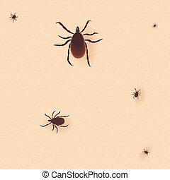 tick., mite, illustration., ícone, cama, parasita, skin., vetorial, silhouette., pele humana, pó, cimex, lectularius, erro, encephalitis