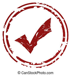 Tick or check mark stamp or seal, isolated on white...