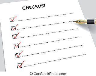 tick placed in check box with fountain pen