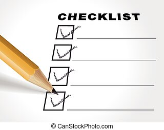 tick placed in check box with pencil