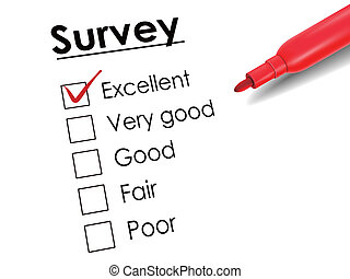 tick placed in excellent check box with red pen over survey...