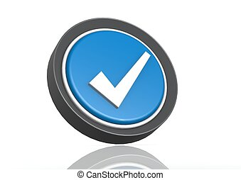 Tick round icon in blue