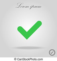 Tick sign element. Green checkmark icon isolated on white background. Simple mark graphic design. OK button for vote, decision, web. Symbol of correct, check, approved. Vector illustration
