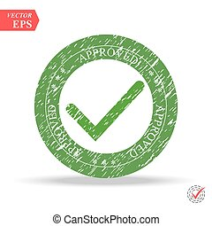 Tick sign element. Green checkmark icon isolated on white background. Simple mark graphic design. Approved stamp