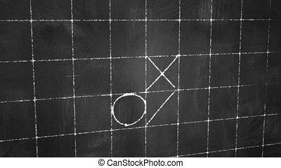 tick tack toe game on blackboard