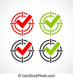 Tick target abstract vector icon