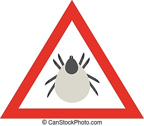 Tick warnings. Warning triangle with Mite. Vector Illustration.