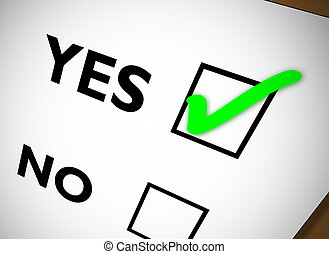 Tickbox YES - Yes No tickbox with green YES tick