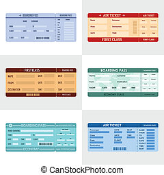 Ticket airline banner horizontal set, flat style