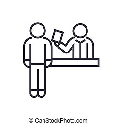 ticket booking office linear icon, sign, symbol, vector on isolated background