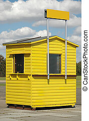 ticket booth - wooden ticket booth with clear sign for text